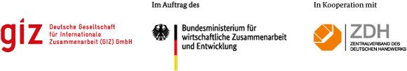 """Logos: """"GIZ"""" im Auftrag des BMZ"""" in Kooperation mit """"ZDH"""""""