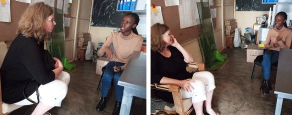 Judith Cramer and Belyse Umwali in the Vakman workshop, September 2019. Photo:©GIZ