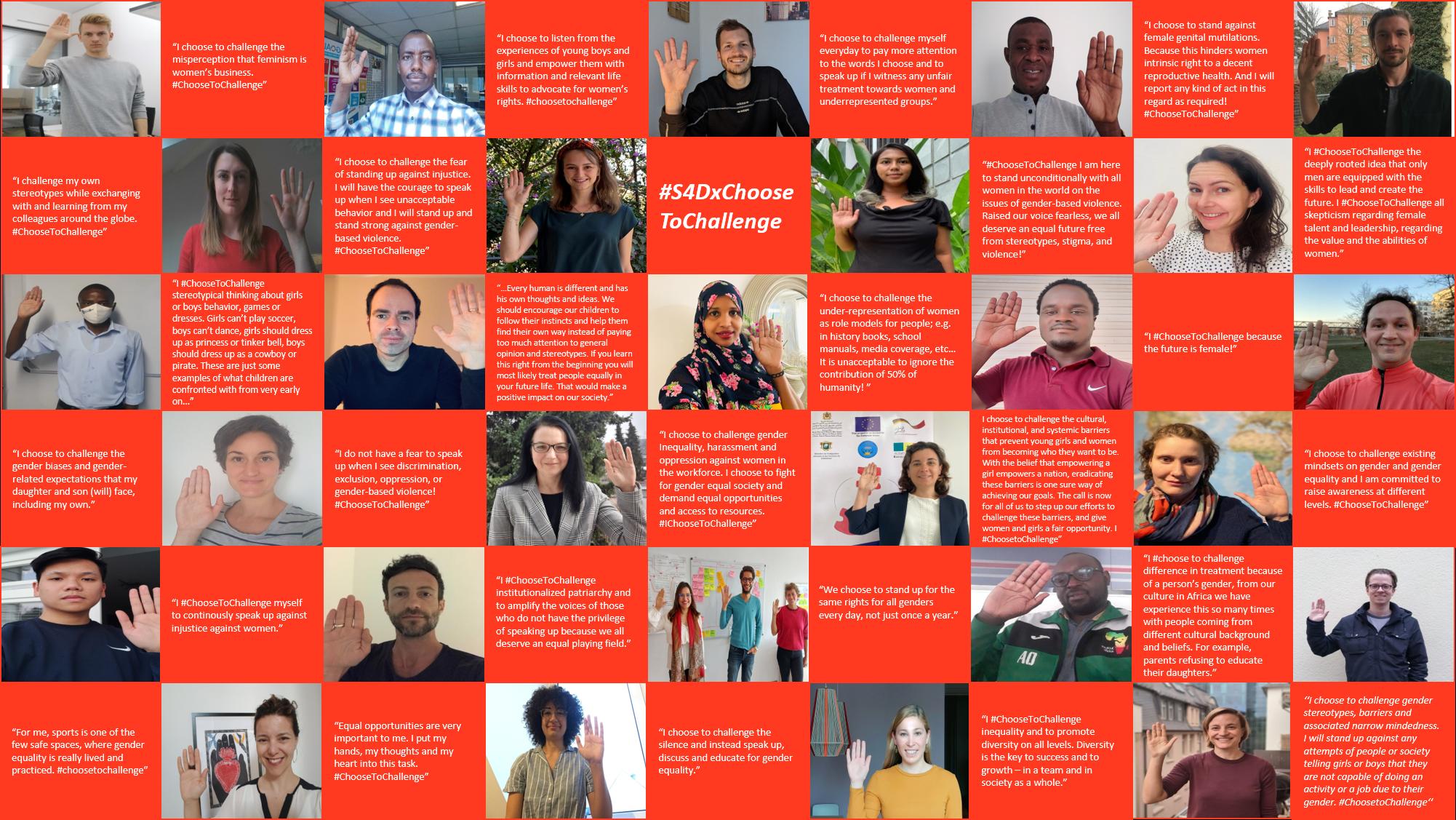 Campaign collage for #ChooseToChallenge. Photo©GIZ