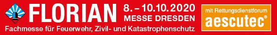 Banner: FLORIAN 8.–10.10.2020 Messe Dresden – Fachmesse für Feuerwehr, Zivil- und Katastrophenschutz