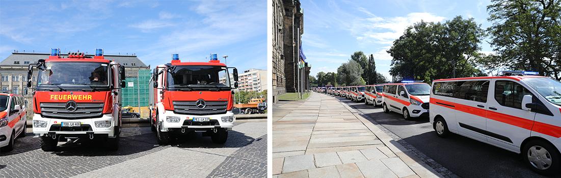 links: zwei LF-KatS, rechts: MTWs stehen vor der Sächsischen Staatskanzlei hintereinander