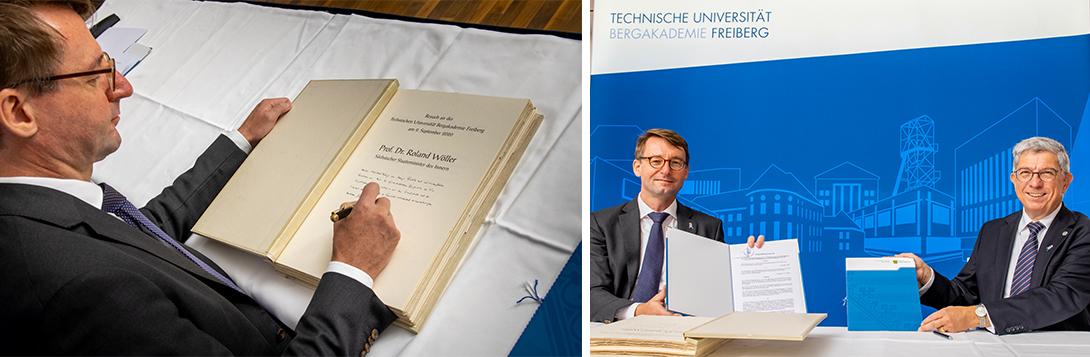 links: Staatsminister Prof. Dr. Roland Wöller unterschreibt die Vereinbarung, rechts: Staatsminister Prof. Dr. Roland Wöller und der Rektor der TU Freiberg, Prof. Dr. Klaus-Dieter Barbknecht mit der Vereinbarung